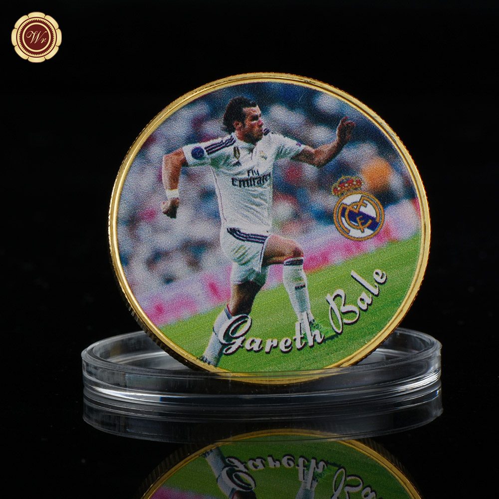 WR Quality Souvenir Gifts Gareth Bale 24k Gold Metal Coin Creative Football Star Commemorative Soccer Aart Crafts for Boy Gifts