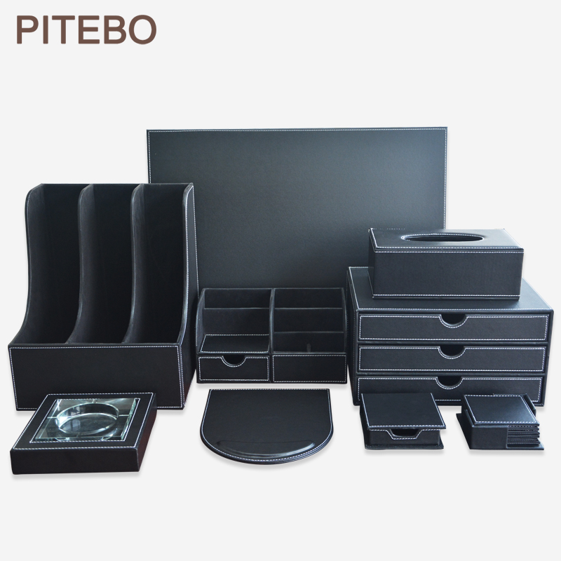 PITEBO 9PCS /set Wood Black Leather Office & File Stationery Desk Organizer Pen Holder Box Mouse Pad Writing Pad