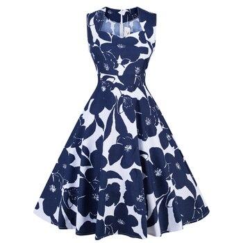 ce2526b1127 SISHION женское винтажное платье без рукавов женское хлопковое белое и  темно-синее цветочный принт качели рокабилли платье VD0719C