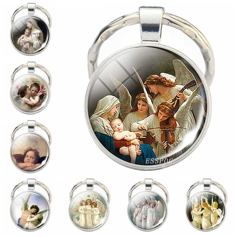 Virgin and Angels Glass Keychain Virgin Mary Glass Cabochon Pendant Angels Metal Key Chain Fashion Jewelry for Men Women Gift