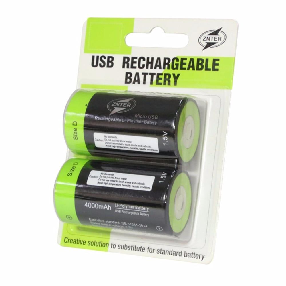 Znter 1.5 v 4000 mah bateria recarregável