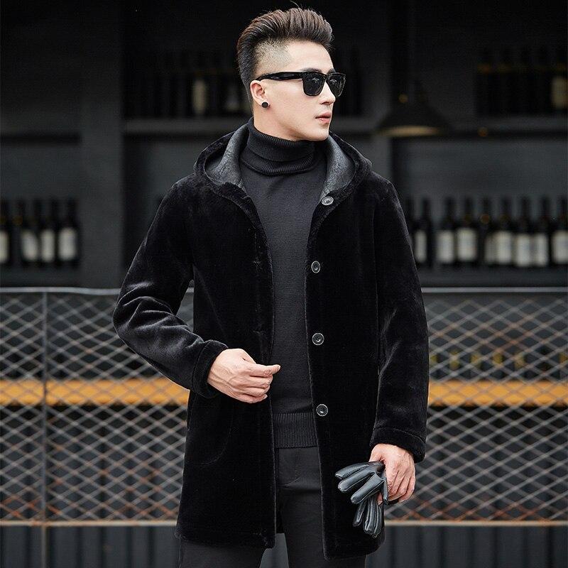 2019 двухсторонний меховой Тренч, мужское повседневное зимнее пальто средней длины с капюшоном, брендовая одежда размера плюс 4XL