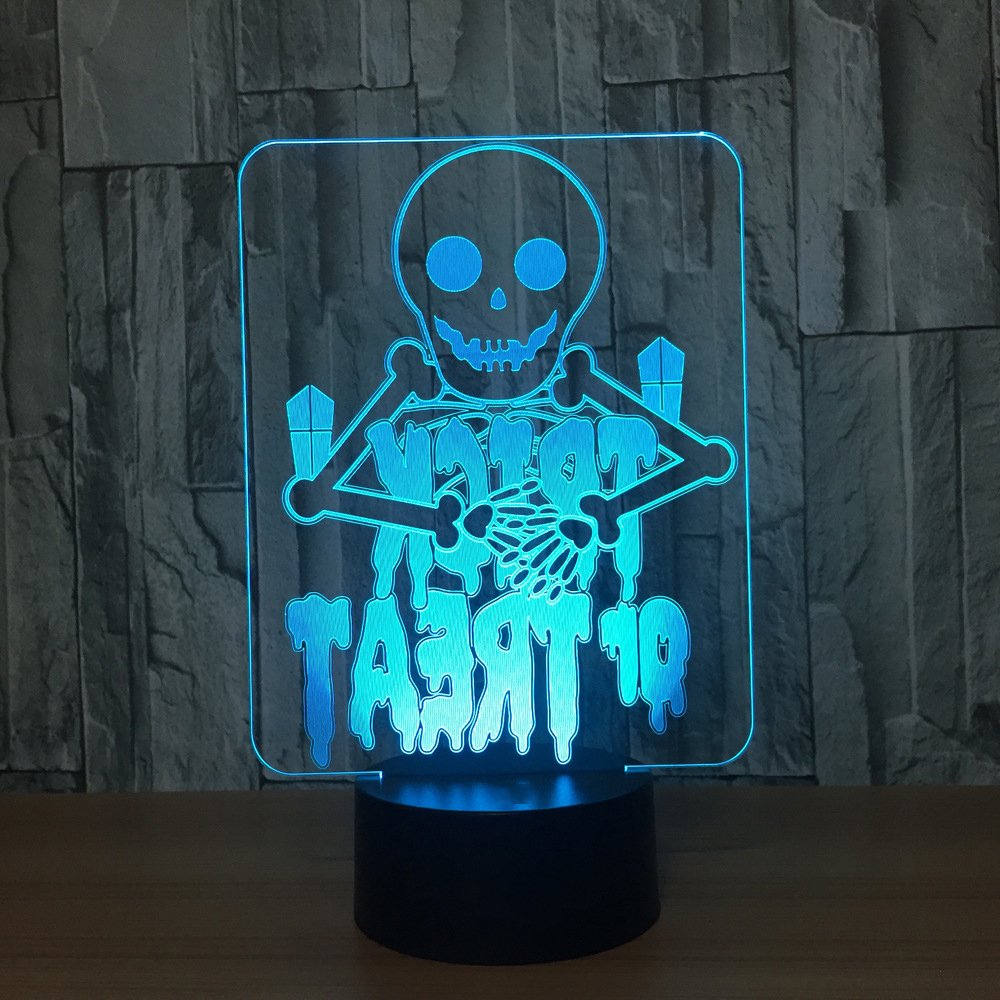 Bedroom Office Decor 7 Color Change Halloween Skull Usb Nightlight 3D Led Desk Table Lamp Children Creative Gifts Light Fixture