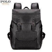 Vicuna polo nueva llegada negro cuero de la pu mochila hombres mochila portátil con doble cinta de moda mochilas de viaje de gran capacidad
