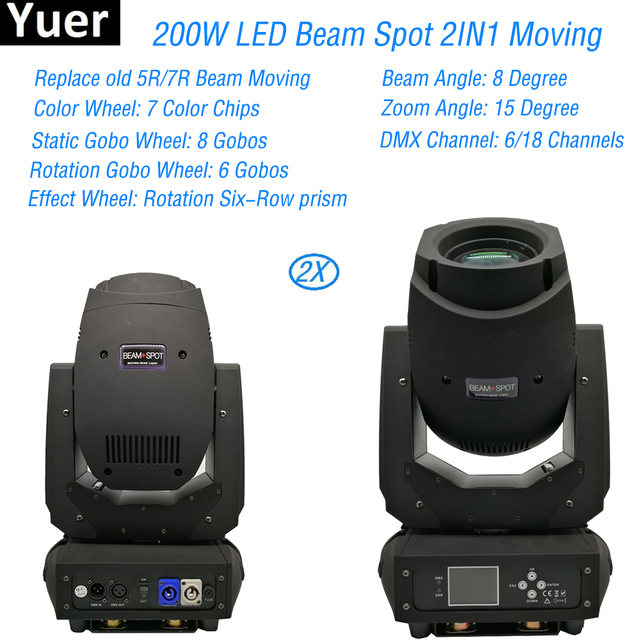 200W 2IN1 Beam Led Moving Head Light 3 Facets Prism 6/18 dmx Prism Electronic Linear Focus Sound Active Disco DJ Stage Lighting