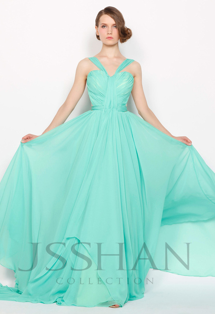 Charming Elegant 2015 Double Shoulder Straps Sexy Junoesque Gorgeous Luxury V-Neck Mint Chiffon evening dresses new arrival