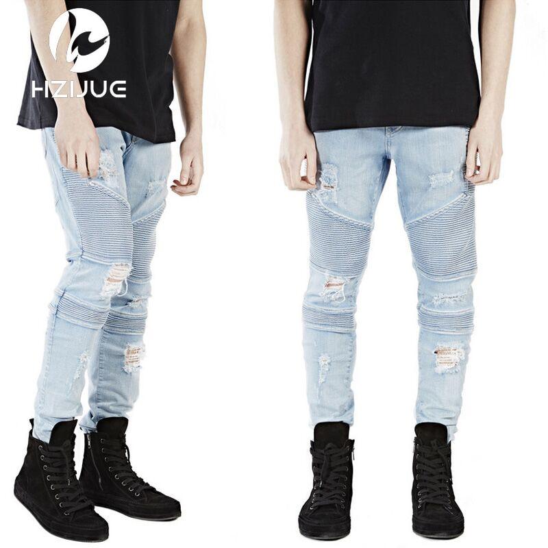 Mens Skinny Jeans Men Runway Distressed Slim Elastic Jeans Denim Biker Jeans Hip Hop Pants Acid Washed Jeans For Men ...