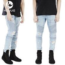Мужские узкие джинсы мужчины впп проблемные тонкий эластичные джинсы denim байкер джинсы hip hop брюки кислоты промывают джинсы для мужчин
