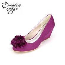 Creativesugar Закрыты носок клинья с лепесток сладкий люкс невесты свадебные туфли атласные вечерние платья каблуки фиолетовый белый