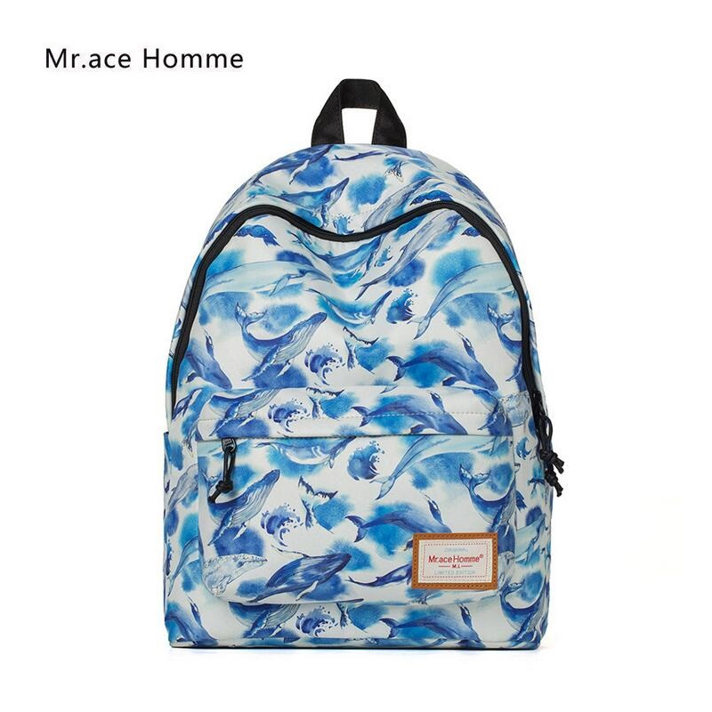 Mr Ace Homme New Backpack Women Bag Hot Sale Cartoon Printed Students School Bags for Ladies