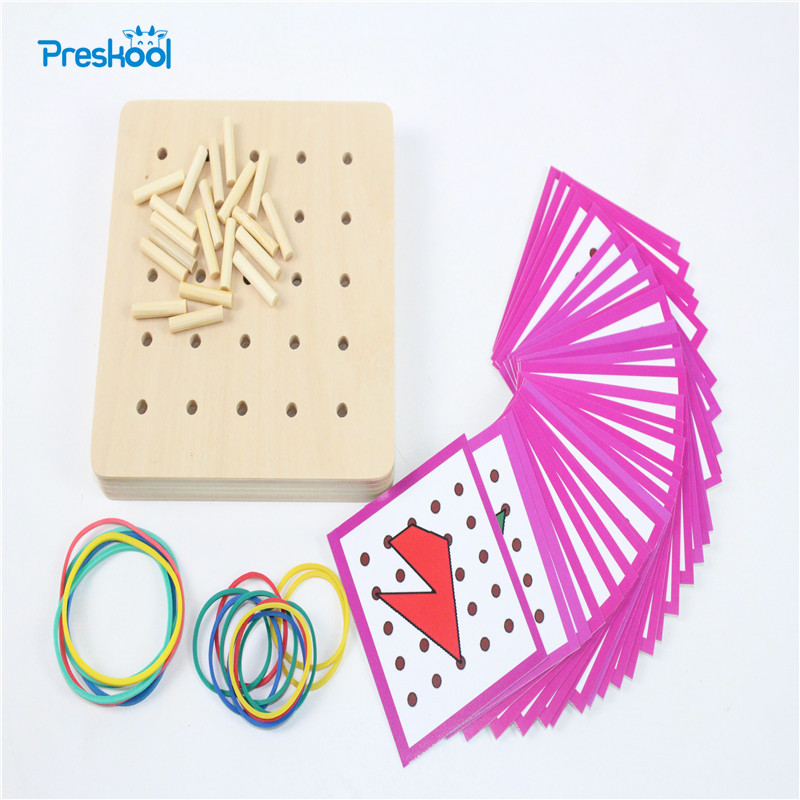 Baby Toy Montessori Creative Graphics Rubber Tie Nail Boards with Cards Childhood Education Preschool Kids Brinquedos Juguetes