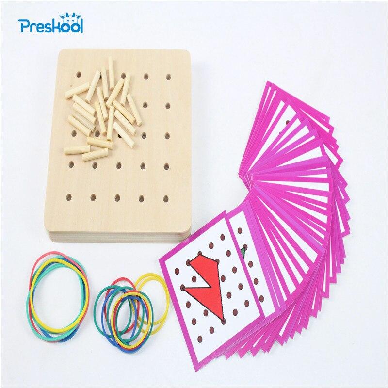 Bebé de Juguete Montessori Gráficos Creativos Lazo de Goma Uñas Tablas con Tarjetas Preescolar Educación Infantil Kids Brinquedos juguetes