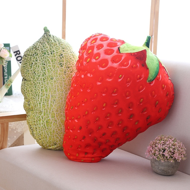 Cojines de frutas vegetales de la vida real decoración del hogar fresa berenjena piña almohada sofá cojín chica regalo de cumpleaños