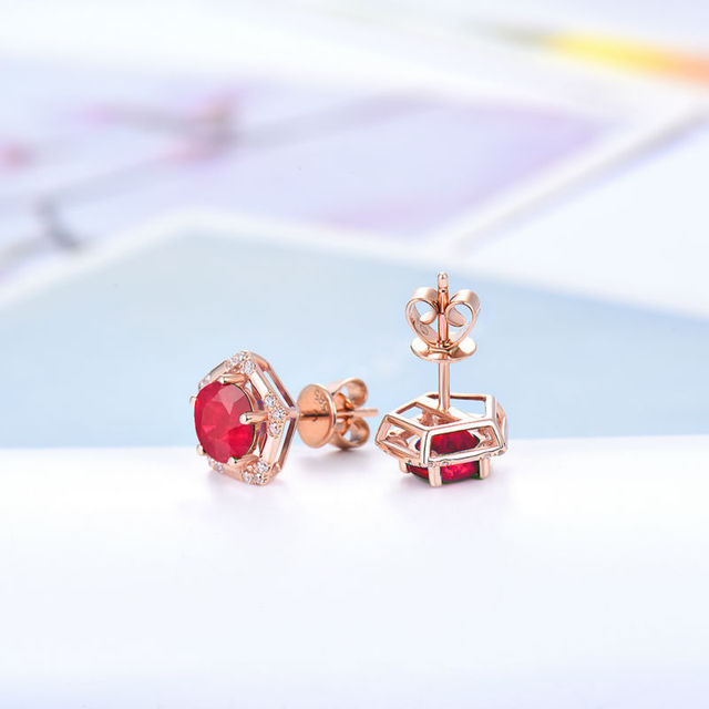 Solid 18K Rose Gold SI Clarify Diamond Jewelry Round Shape Ruby Earring Design for Women Birthday Gift