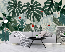 beibehang Custom fashion stereo wallpaper Nordic modern tropical rainforest banana leaf background wall papers home decor behang