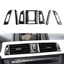 YAQUICKA 7x Carbon Fiber Car Front Air Conditioner Outlet Vent Frame Cover Trim Sticker For BMW