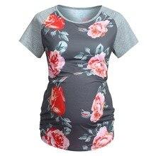 Беременности и родам Топ Для женщин для беременных с коротким рукавом Цветочный принт Топы Футболка для беременных Одежда Для женщин топы летние серые модные dec25