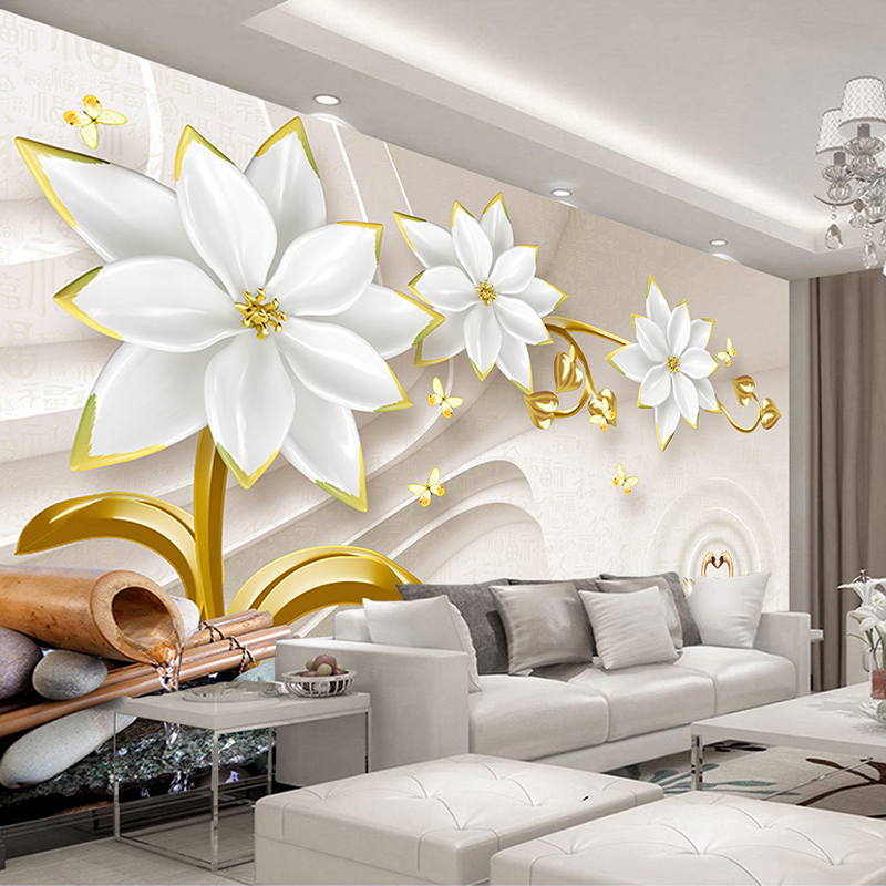 Custom Mural Wallpaper Luxury Gold Jewelry Flower 3D Relief Living Room TV Background Wall Murals Home Decor Papel De Parede 3D custom 3d wall murals wallpaper luxury silk diamond home decoration wall art mural painting living room bedroom papel de parede
