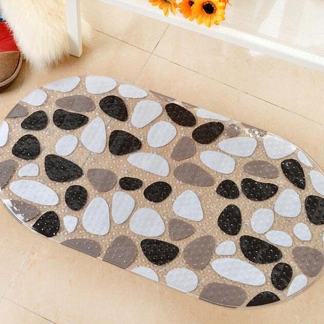 Cobble Style Bath Mat Non-Slip Shower Waterproof Carpet PVC Rug Colored Stone bath mat 69*39CM