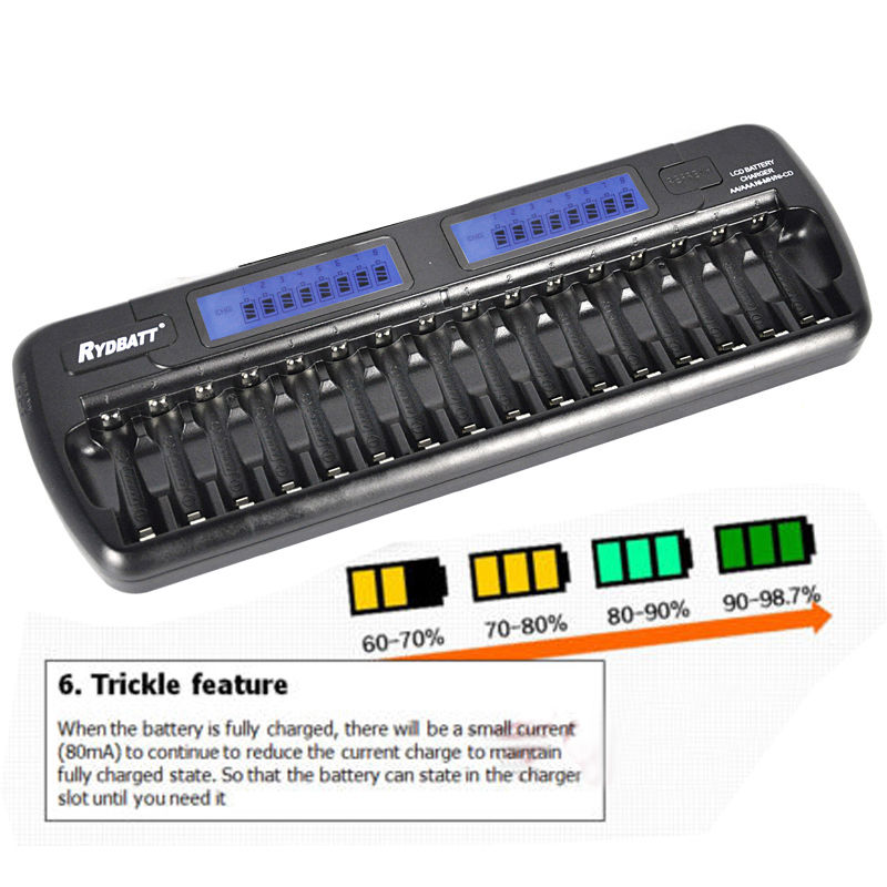 ФОТО With LCD Screen OEM Factory Certificated 16 Bay/Slot Smart Battery Charger For AA AAA NiCd NiHM Rechargeable Cells Batteries