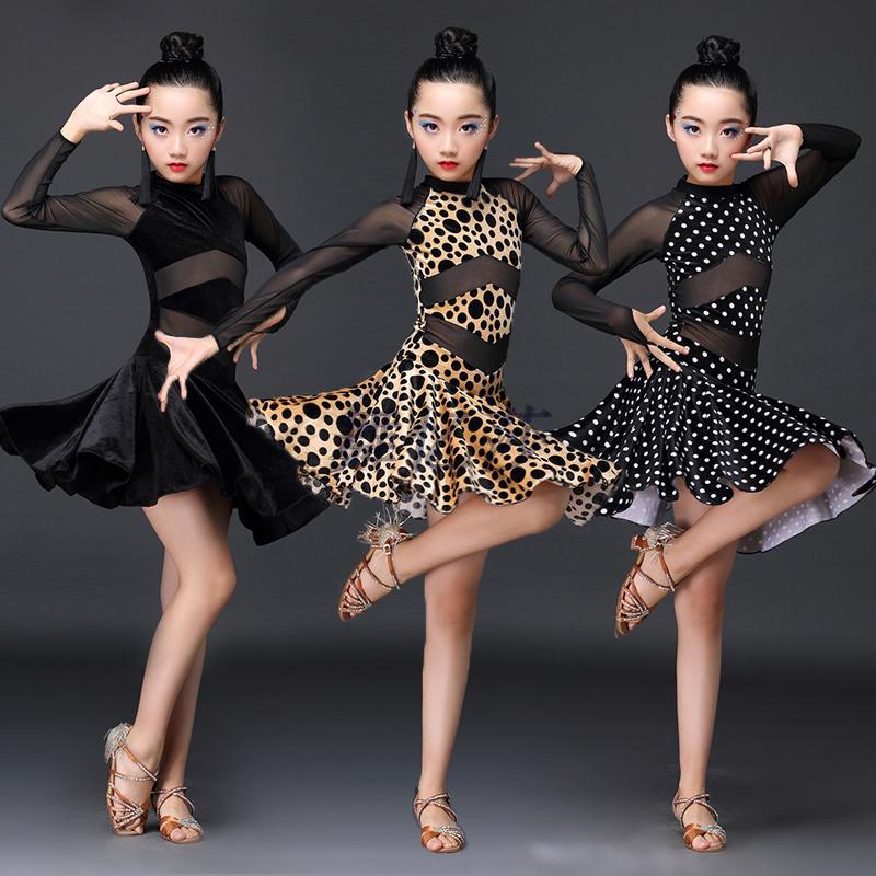 Latin Dance Dress Children Tassels Dress Kids Dresses For Girls Latin Training Tango Performance Clothes Cha Cha Dress BL1167