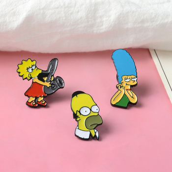 Lisa Homer Jay Marge Kirk TV show Cartoon character nternet meme brooch cute Enamel pins For Fans image