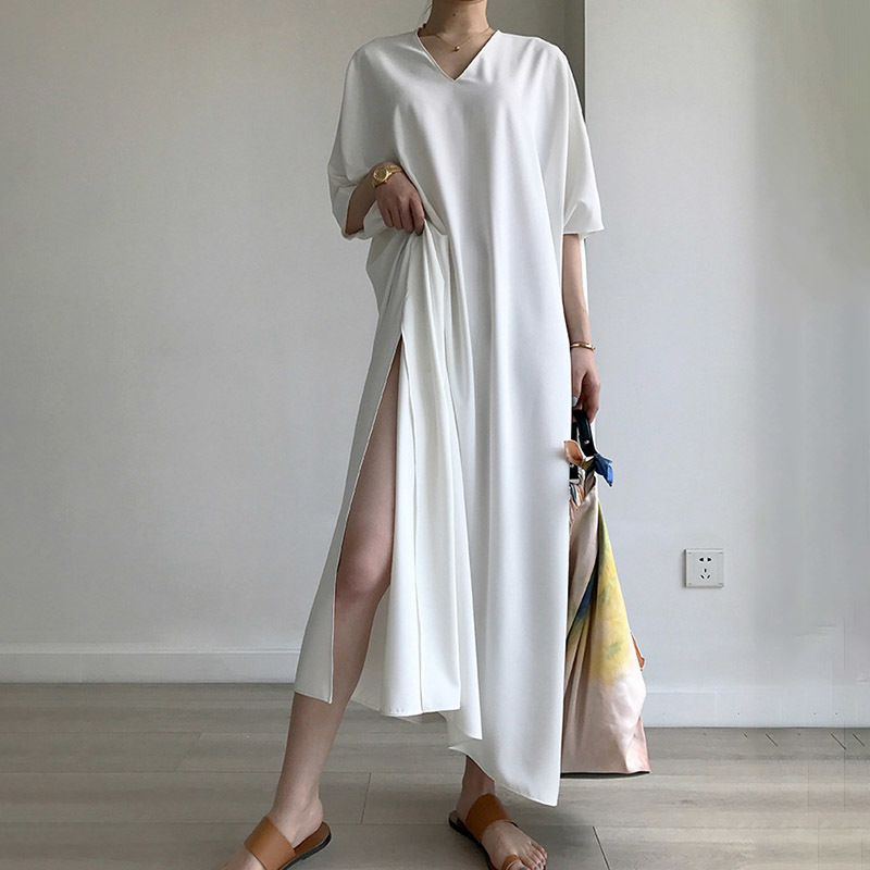 TWOTWINSTYLE Hohe Split Kleid Sommer V Neck Batwing Hülse Oversize Lang Urlaub Kleider 2019 Mode Weibliche Casual Kleidung-in Kleider aus Damenbekleidung bei  Gruppe 3