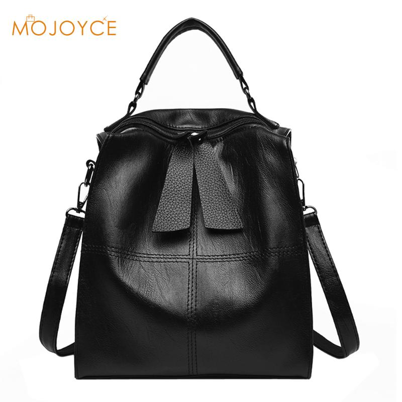 2018 Women PU Backpack for Teenage Girls mochila Fashion Leisure Student School Shoulder Bag Black Bagpack Female Solid Rucksack