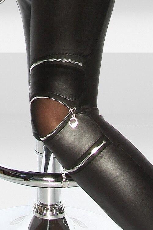 17 Spring Autumn Three Zipper women's leggings sexy leather leggings leather pants Female Feet Legging women's couro Clothing 2