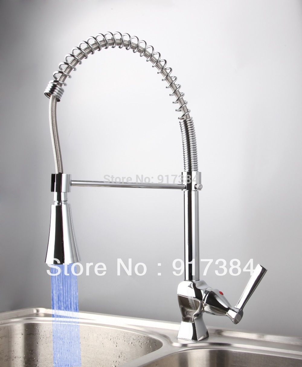 Pull Out Kitchen Swivel Spout Single Handle Sink Faucet LED Color Spray Mixer Tap Chrome CM