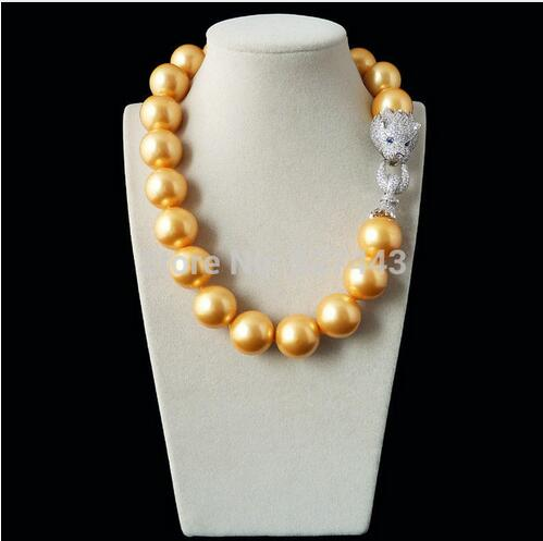 цена на Natural 20mm gold yellow shell pearl inlay zircon leopard head LUXURY necklace