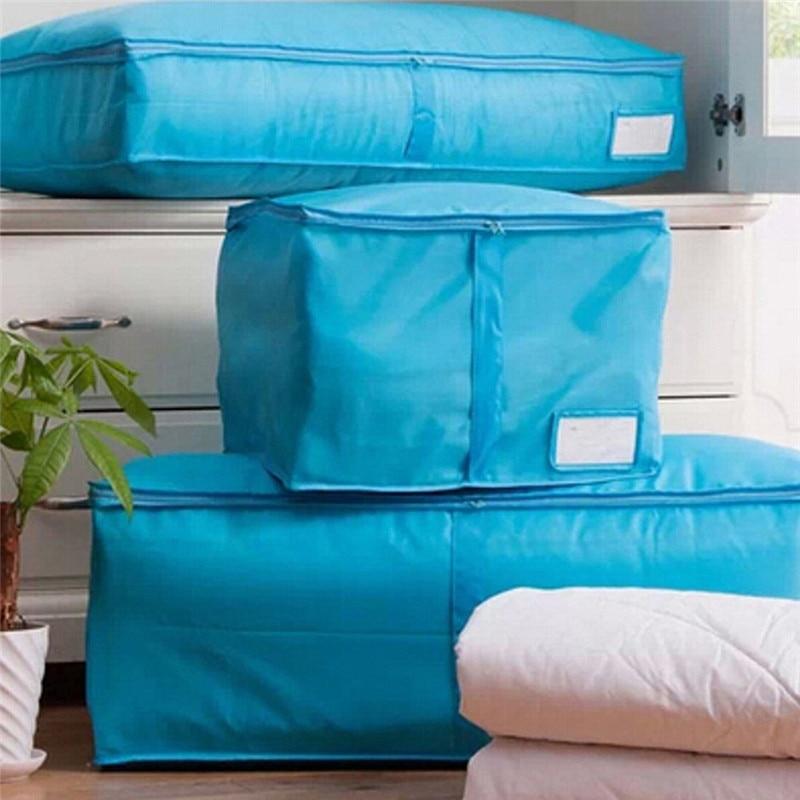 Blå / Röd Lämplig Sängkläder Förvaringslåda Bärbar Organiserare Non Woven Kläder Påsehållare Blankett Kudde Underlag Förvaringsväska Box