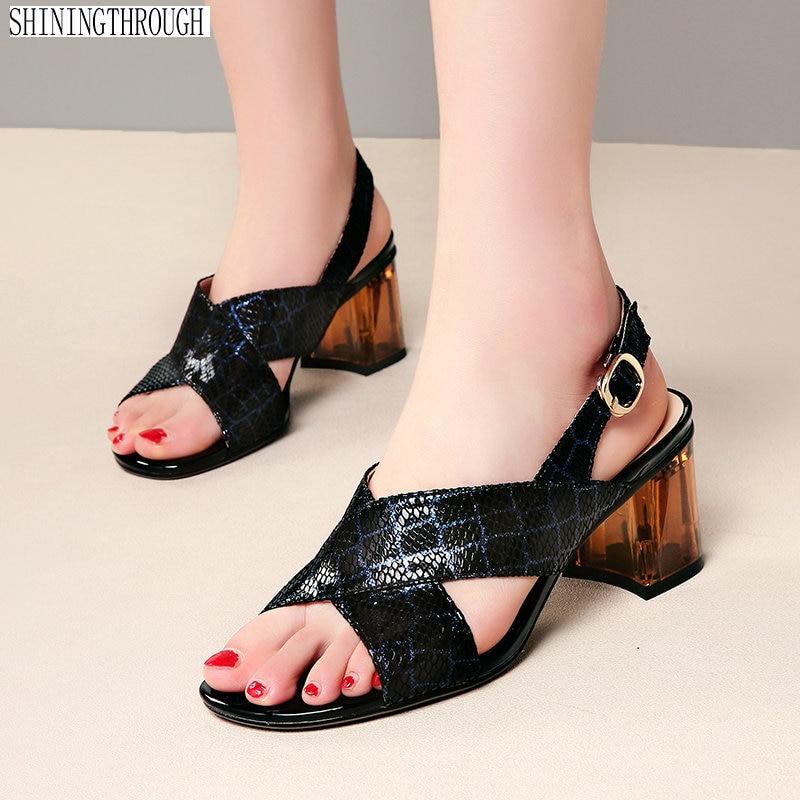 Summer Shoes Woman 2019 Genuine Leather Elegant Gladiator High Heeled Pumps Fashion Platforms Female Shoes Sandals