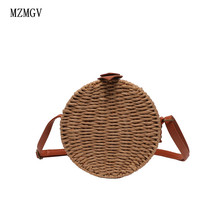 2019 new bohemian rattan hand-woven crossbody bag round travel bolso straw women summer beach shoulder