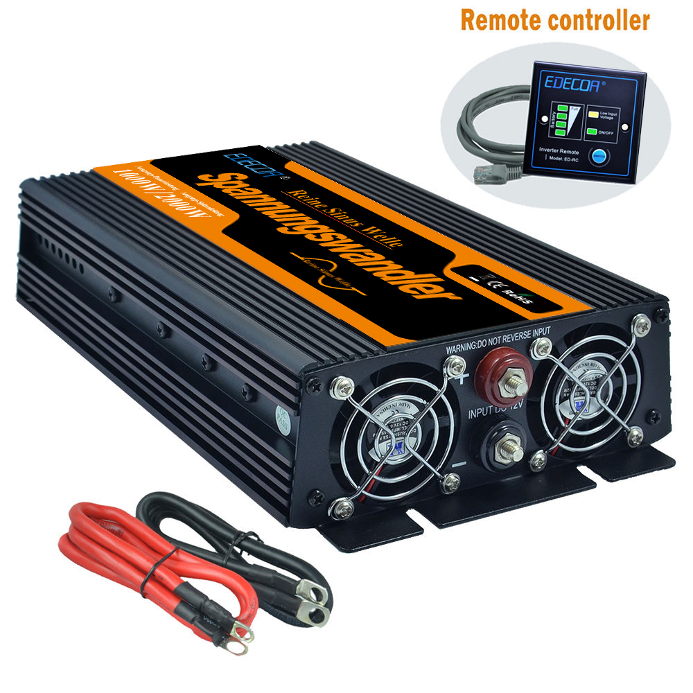 Newest High Efficient  DC 12V To AC 220V 1000w  Max 2000w Pure Sine Wave Power Inverters