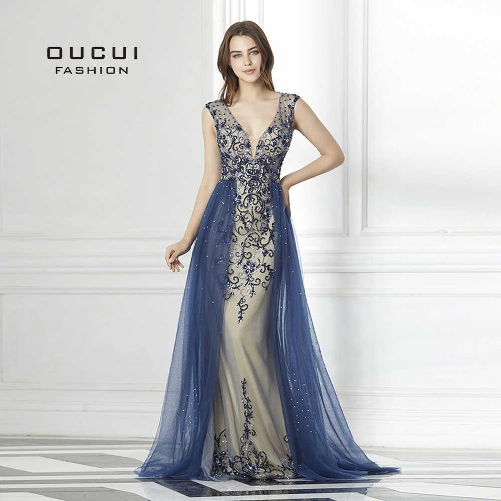 Вечернее платье с длинным шлейфом, украшенное бисером, темно-синего цвета, длинное  вечернее 74462f11527