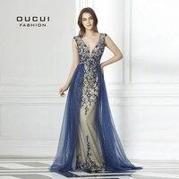 Жесткий бисер темно синие со шлейфом вечернее платье Длинные Diamond Кристальный Тюль Формальные Abiye Vestido De Noche настоящая фотография OL103090