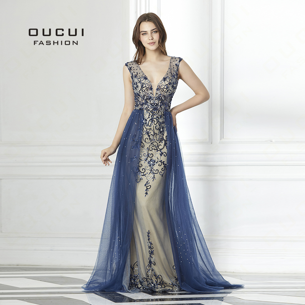 Hard Beading Navy Blue With Train   Evening     Dress   Long Diamond Crystal Tulle Formal Abiye Vestido De Noche Real Photo OL103090