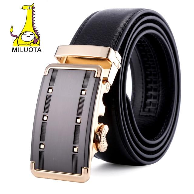 [MILUOTA] Famous Brand Belt Men Top Quality Genuine Luxury Leather Belts for Men,Strap Male Metal Automatic Buckle MU082