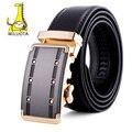 [Miluota] cinturón hombres cinturones de cuero genuino de calidad superior de lujo de marca famosa para los hombres, correa masculina de la correa de metal automático hebilla mu082