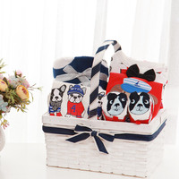 Cocostyles bespoke hot distinctive lovely dog baby gift baskets with high quality baby clothes shoes for newborn baby boy