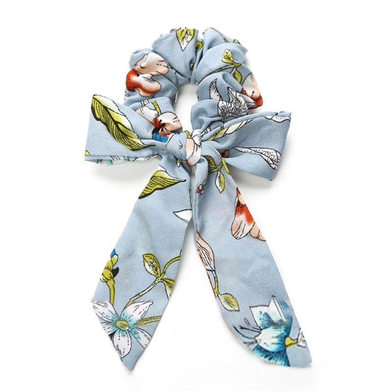 1pcs Bowknot Hair Scrunchies Women Floral Chiffon Hair Accessories Rubber Hair Rope Ponytail Holder Bows Hair Tie Band Scrunchie