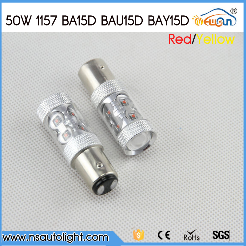 2pcs/lot 50W 1157 Signal Tail Turn Backup Light Bulb ba15d baz15d bay15d 10*CREE  led chips LED Car RED/YELLOW
