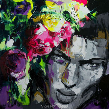 Palette knife painting portrait Palette knife Face Oil painting Impasto figure on canvas Hand painted Francoise Nielly 13-18