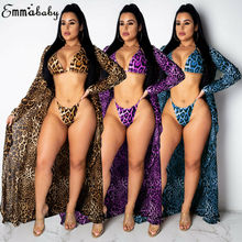 2019 Summer Bikini 3PCS Swimwear Women Leopard Print Beach Wear Set Swimwear+Cover Up Candigan Bathing Suit