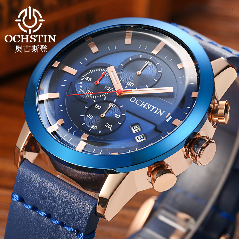 Sports Watches Men Quartz Military Luxury Brand Watches 3ATM Waterproof Chronograph Male Clock Leather Band Blue Watch Gift Army
