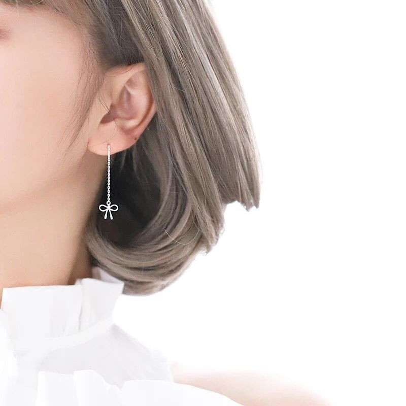 Silver bowknot is small and pure and fresh girl heart earring stud earrings female girlfriends gifts in Stud Earrings from Jewelry Accessories