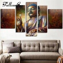 FULLCANG Diy Full Square Diamond Embroidery Buddha Icon 5D Painting Cross Stitch Triptych Mosaic Needlework 5Pcs D113