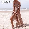 2017 Boho стиль длинные dress женщины С плеча пляж летом dress new Vintage chffion белый макси dress vestidos де феста womme