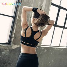 Colorvalue Flexible Fitness Sports Bra Women High Impact Padded Running Bras Quick Dry Racerback Athletic Vest Sport Bra Tops